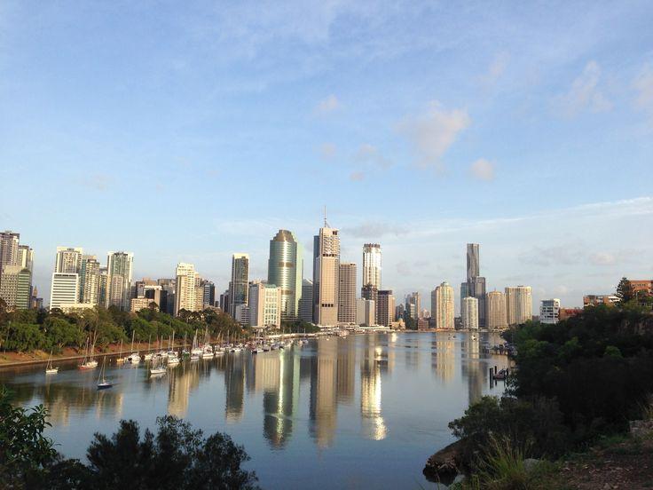 Brisbane city glistening in the sunshine