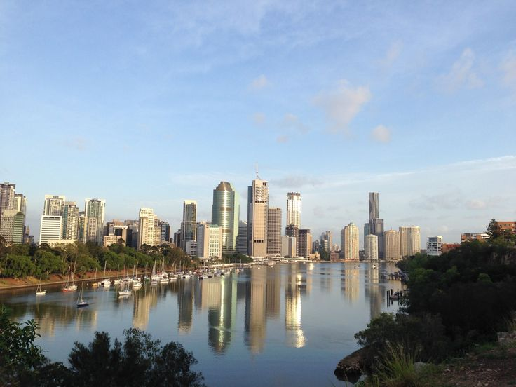 Brisbane city glistening in the sunshine
