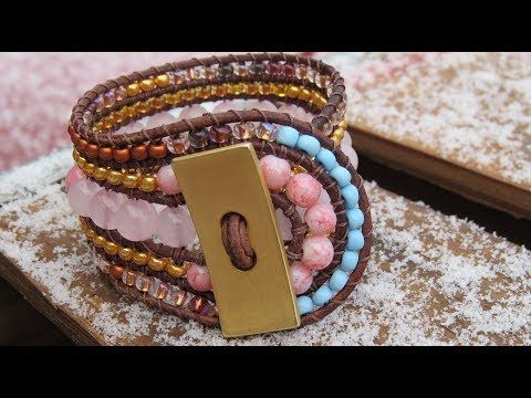 """Five row wrap bracelet *** with beaded loop closure *** YouTube // tutorial. (58"""" round leather cording, button, 8mm and smaller beads, super glue)"""