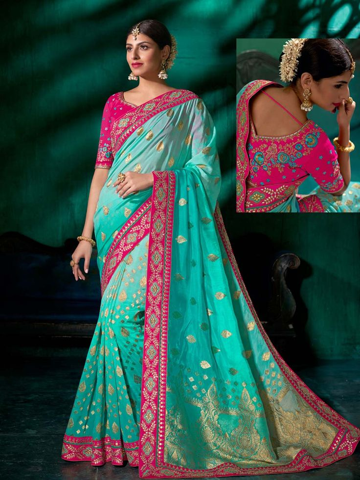 Tempting aqua pure viscose saree with worked patch border is simply making it mesmerizing. Style and luxury is specially created for your personality.