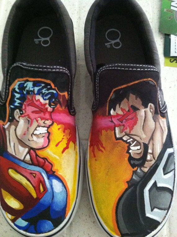 Costum Painted Shoes on Etsy, $140.00 superman shoes