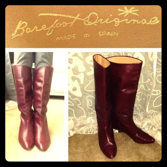 Burgandy Spanish Leather Boots These boots are adorable! Fits true to size 5.5, especially for petite girls with smaller calves (up to size 3 skinny jeans). Made in Spain from real leather. Feels like soft butter and has preserved luster. Previously loved, but still in great condition. A small scuff mark on left toe, not that noticeable  (see pictures). Both boots can be re-heeled, but can also be worn as is. Price reflects re-heeling.  **these boots FREE with the purchase of Black MK boots…