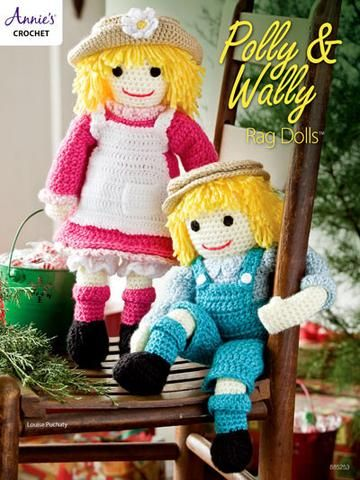 "Polly and Wally will be forever friends for any little boy or girl. These 2 dolls are made using light- #3 and worsted- #4 weight yarns. Stuffed with fiberfill, they each measure 15"" tall.  Skill Level: Intermediate  http://www.maggiescrochet.com/products/polly-wally-rag-dolls"