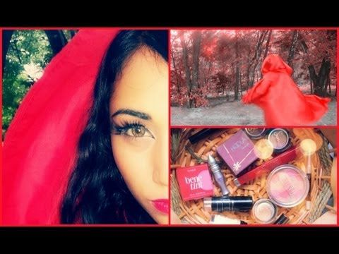 ♥ Red Riding Hood-Halloween Makeup + 1 Minute NO SEW Cloak ♥