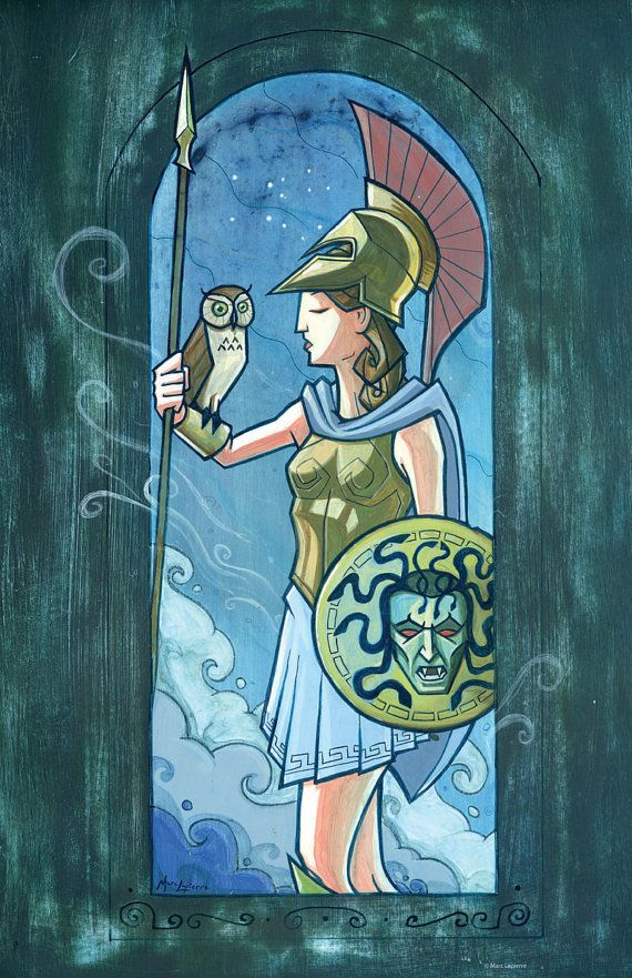 This print features Athena, Greek goddess of wisdom.  Measures 11 x 17. Printed on cover stock.  All prints will be shipped unsigned unless specified in the order. Personalization is available on request.