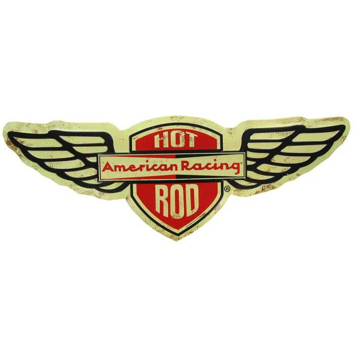 Hot rod american racing die cut embossed tin sign autos for Logos de garajes