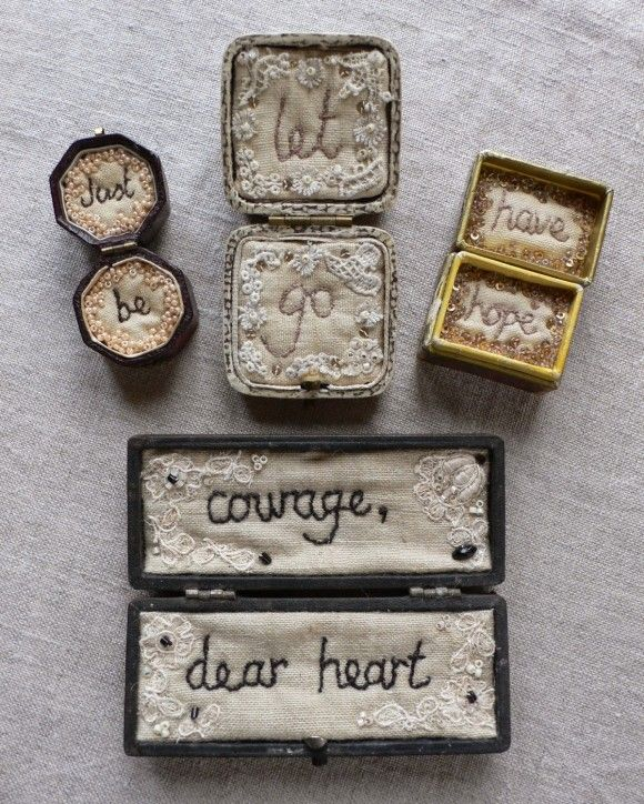 Oh my, what a lovely use of those old jewellery boxes floating around. Made by Christine Kelly at gentlework.blogspot.com