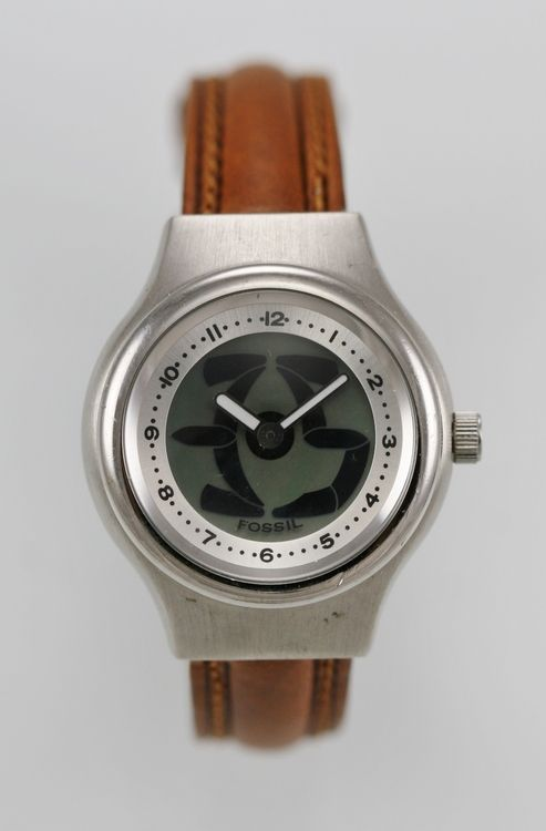 Fossil Big Tic Watch Womens Leather Brown 50m Stainless Steel Silver Gray Quartz