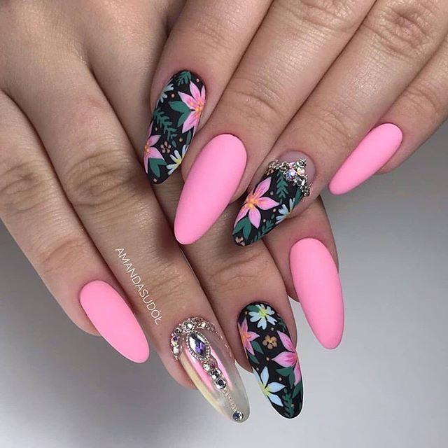 Pink leopard print | Long nail designs, Pink nails