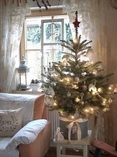 All Things Shabby and Beautiful. Small Christmas Tree, Tree Stand Ideas, Farmhouse style Christmas, natural christmas tree, evergreen trees