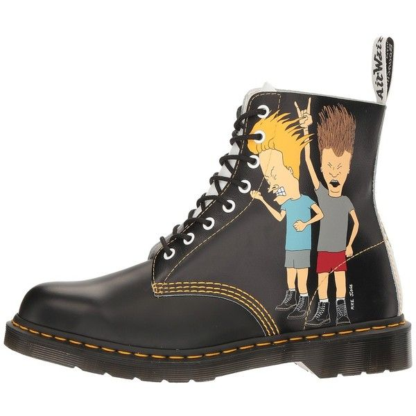 Dr. Martens Beavis and Butt-Head Pascal (Black/White B&B... (£120) ❤ liked on Polyvore featuring shoes, boots, ankle boots, bootie boots, slip resistant shoes, lace up boots, black and white shoes and full grain leather boots