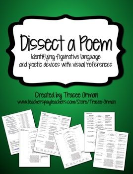 Dissect a Poem - Complete Anatomy of Poem Activity with differentiated handouts for various levels of learners. $