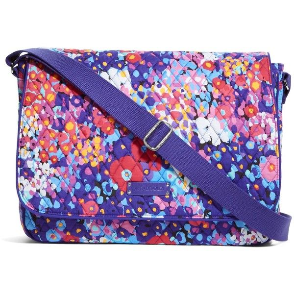 Vera Bradley Laptop Messenger Crossbody in Impressionista ($88) ❤ liked on Polyvore featuring bags, impressionista, new arrivals, vera bradley, blue bag, blue crossbody bag, vera bradley bags ve laptop bag