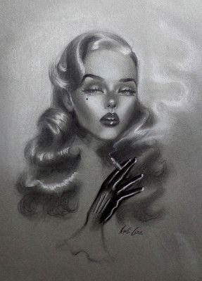 Original Pin Up Girl Art Sketch Amber Carr Fetish Leather Glove Cigarette | eBay