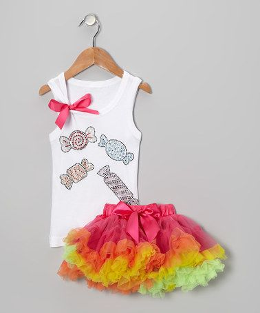 Take a look at this White Candy Tank & Rainbow Pettiskirt - Infant, Toddler & Girls by So Girly & Twirly on #zulily today!