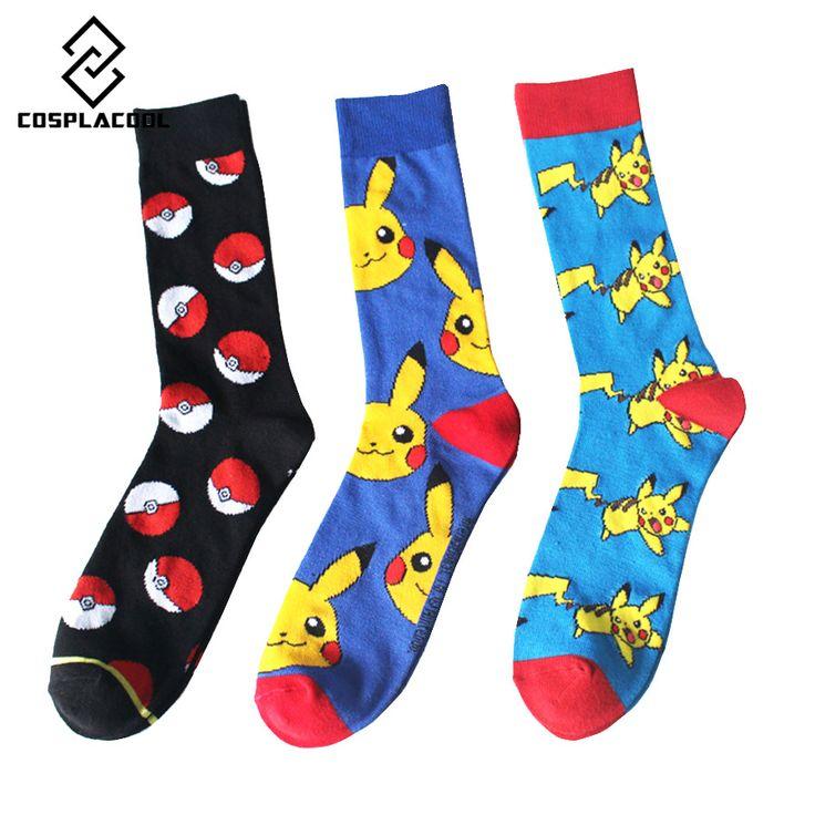 Color Point Elf Ball Pokemon ball Men Women Long Cotton Socks Happy Pikachu Jacquard Cartoon Men's High Quality Socks EUR38-44