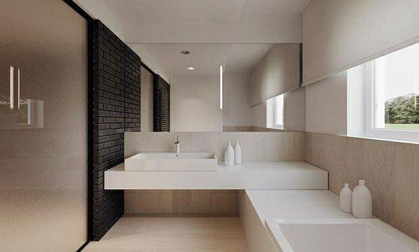 badewanne holz waschbecken möbel minimalistische badezimmer