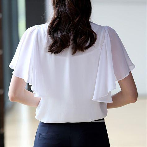 KRBN Marca Mujeres Tops Blusa de La Gasa Mujeres Ropa de Verano 2016 Señoras Blusas Casuales de Manga Corta Más El Tamaño Blanco de la Muchacha camisas