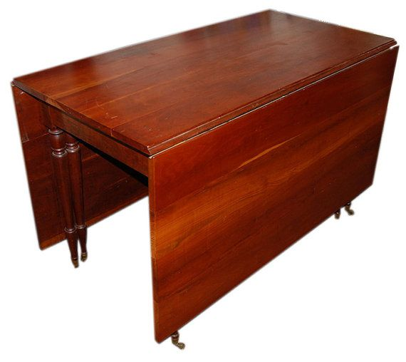 Antique Solid Cherry Dining Table Drop Leaf Style Drop