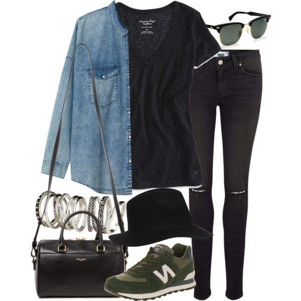 Inspired with new balance shoes by nikka-phillips on Polyvore featuring mode, American Eagle Outfitters, Monki, Paige Denim, New Balance, Yves Saint Laurent, H&M, Topshop and Ray-Ban