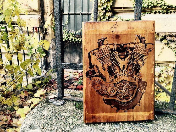 Excited to share the latest addition to my #etsy shop: Harley Davidson J JD Vintage Motorcycle Engine  Wooden Picture Wall Decor Home Decor Garage Art