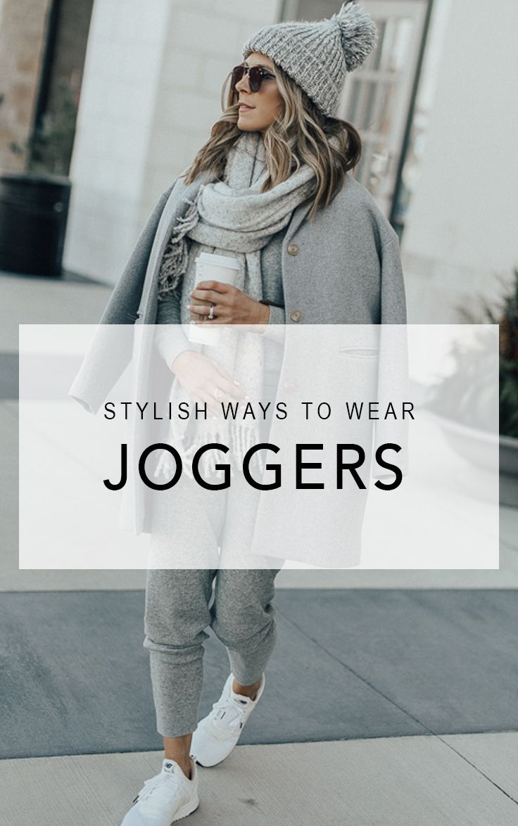 Fancy sweatpants will become your new best friends. Get comfy and cozy with two stylish joggers outfits that will take you from a lazy day indoors to your next coffee run | Be Daze Live - Fall outfit, winter outfit, comfy outfit, sneakers outfit, joggers, joggers outfit, travel outfit.