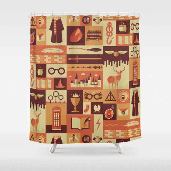 Harry Potter-Themed Shower Curtain