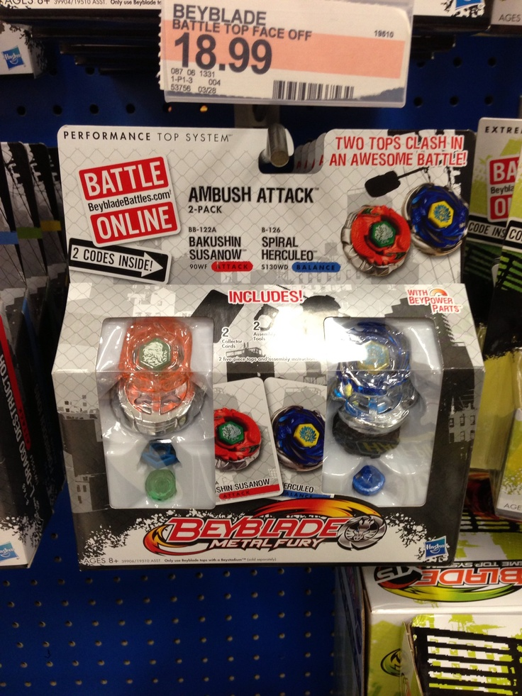 EthanAmbush Attack 2pack Bey Blade Metal Fury (With