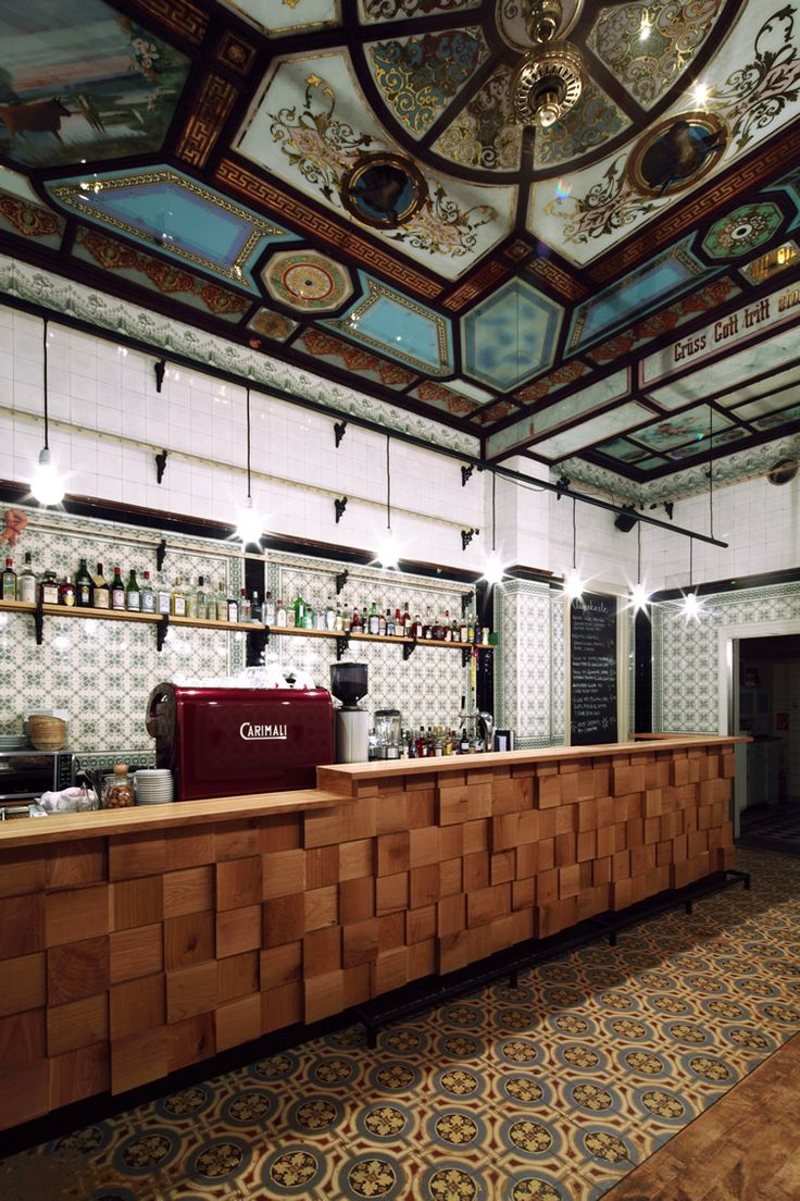 love the colorful tiles and the wood block tiles on the bar front Fleischerei Bar   Leipzig, Germany