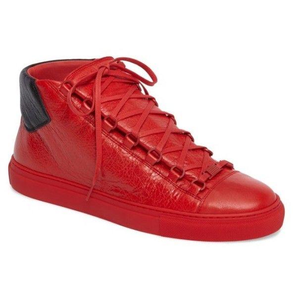 Men's Balenciaga Arena High Sneaker ($645) ❤ liked on Polyvore featuring men's fashion, men's shoes, men's sneakers, mens sneakers, balenciaga mens sneakers, balenciaga mens shoes and mens shoes