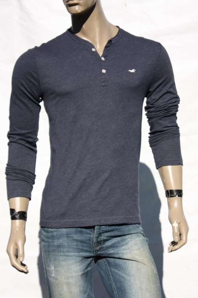 Mens henley shirt hollister polo navy muscle fit t shirts for Mens collared henley shirt
