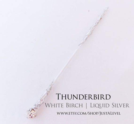 Liquid Silver Harry Potter Inspired Wand Thunderbird by JustALevel
