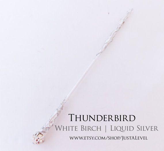Liquid Silver Harry Potter Inspired Wand Thunderbird by JustALevel
