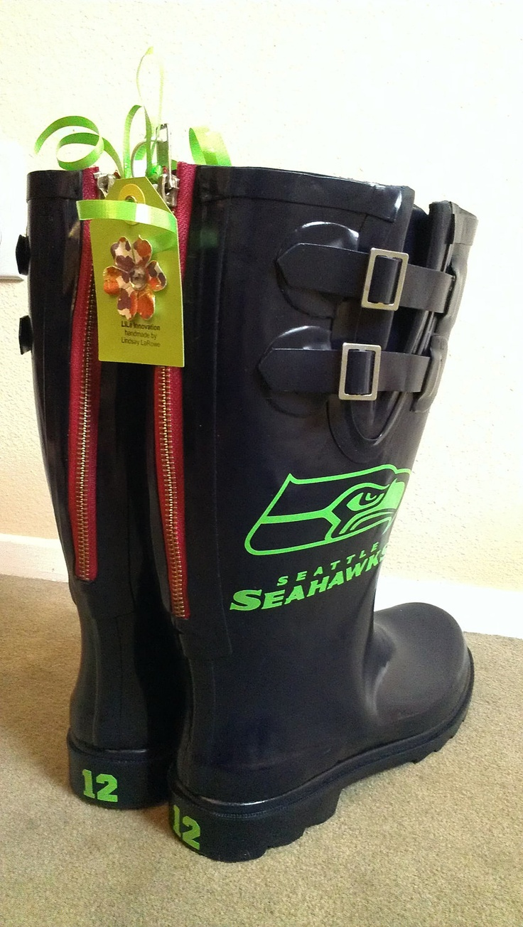 Custom Made-to-Order Rain boots Replica NFL Rainboots Seattle Seahawks 12th Man Rainboots for Tailgating and cheering in style. $75.00, via Etsy. GIMME!!! <3