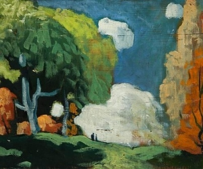 FORTIN, Marc-Aurèle, LANDSCAPE WITH TWO FIGURES Dimensions: 10 x 12 3/8in, Medium: oil on board, Creation Date: 1938