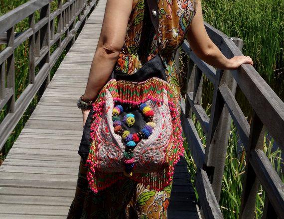 Gypsy bag Hippie Boho Bag vintage tribal fabric by AllureCraft