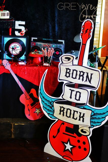 Fun decor at a Rockstar birthday party!   See more party ideas at CatchMyParty.com!