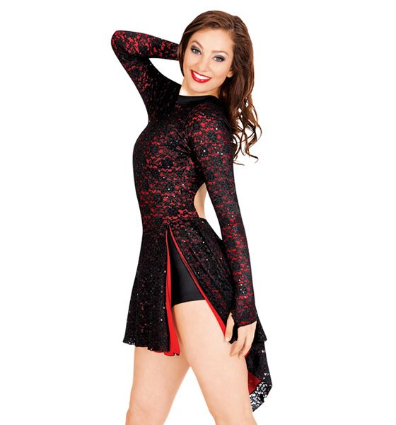 Double Platinum Adult Open Back Long Sleeve Lace Dress