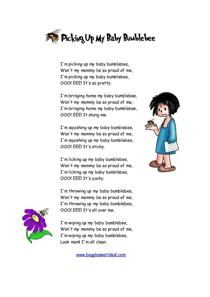 Lyric bumble bee song lyrics : Baby Bumble Bee Song