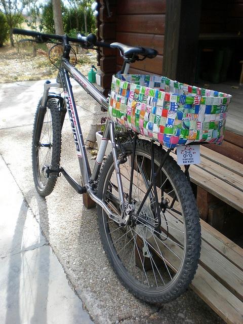 Bike basket made from tetra pak