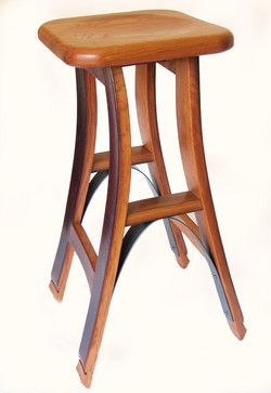 Eiffel, barstool recycled oak wine barrel high stool. - mediterranean - chairs - other metro - Stil Novo Design (another angle)