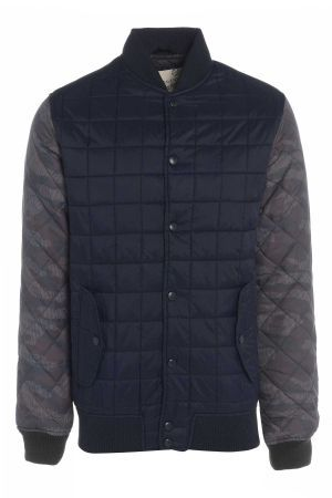 Mens Camo Sleeve Quilted Baseball Jacket £36 http://bit.ly/1eGgDHg  #camo #jacket