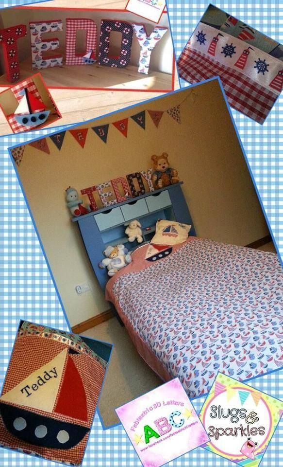 Bedding, cushion & bunting hand made by myself ... fabric covered letters made by @spellsie