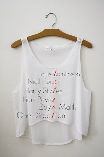 One Direction Band Members Names Talent Cropped by SoulClothes, $23.99
