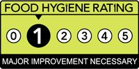 Food hygiene rating is '1': Major improvement necessary
