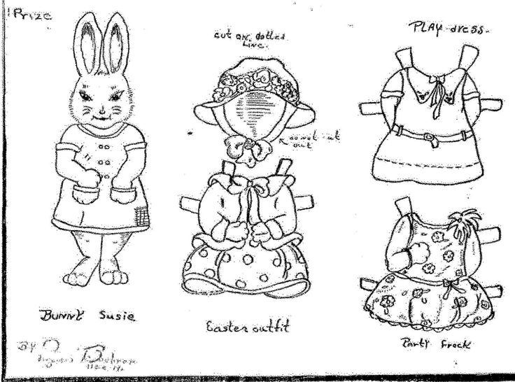 a rabbit a day miss susie bunny susie paper doll by an aunt elsie paper doll club member. Black Bedroom Furniture Sets. Home Design Ideas