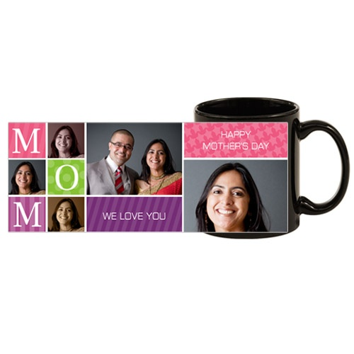 Rs.550.00 / $9.90 Shipping Charges 	Free Shipping To India(IND)	 Product Details 	 Present this Mug to your mother on this Mother's day and show your affection and love. Please send us 2 good photos. 4 Working Days Dimensions: 110 Oz http://www.giftsomeone.com/photo-black-mug-mom1-/product_info.php/products_id/4571