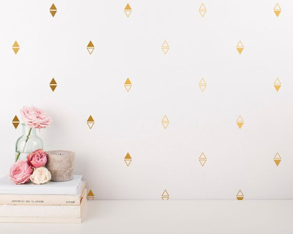 Gold Arrow Wall Decals - Triangle Vinyl Wall Decals, Geometric Wall Decals, Unique Gold Decor for Gifts and More!