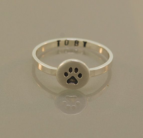 Paw Ring Customized on Etsy, $48.00  Love this idea! I need to get one with my Eddie's name..