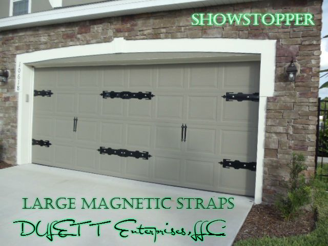 LARGE MAGNETIC GARAGE DOOR DECORATIVE STRAP HINGE SET You Will Receive 4  Hinges And 2 Handles